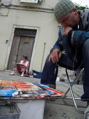 Andreas Mattern in Venedig beim Aquarell malen
