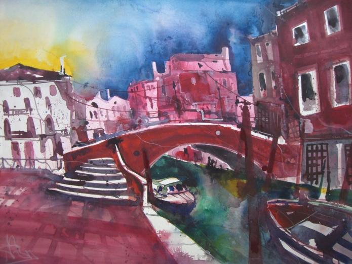 Venedig Rio Dei Medicanti - Aquarell von Andreas Mattern