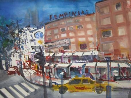 Kurfürstendamm Kempinski - Aquarell von Andreas Mattern