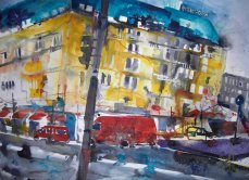 Pariser Platz, Adlon - Aquarell von Andreas Mattern
