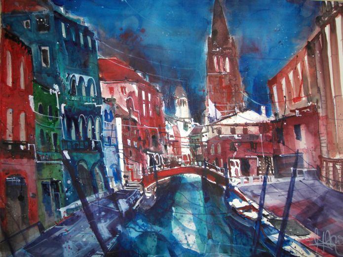 Venedig, San Barnaba - Aqauarell von Andreas Mattern