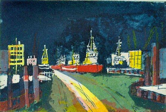 Hafen - Radierung von Andreas Mattern