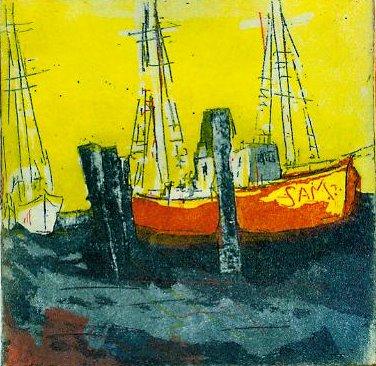 Kleines Boot Sam - Radierung von Andreas Mattern