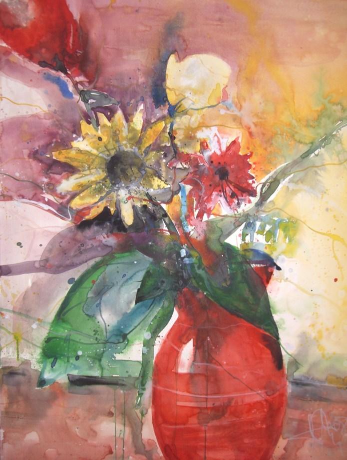 Blumen in roter Vase - Aquarell von Andreas Mattern