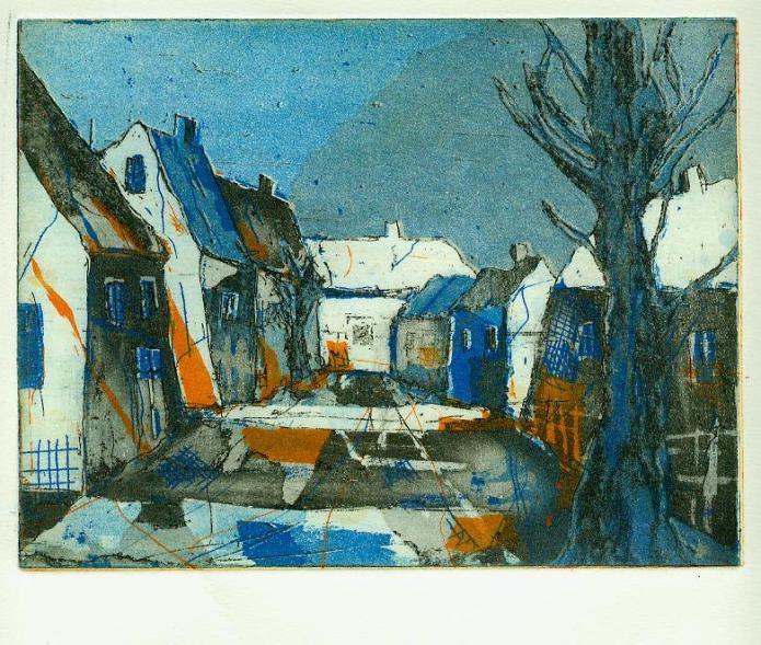 Blaues Dorf - Radierung von Andreas Mattern