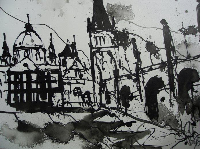 Prag Karlsbrücke, Zeichnung auf Bütten
