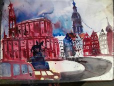 Entstehung Dresden - Aquarell von Andreas Mattern