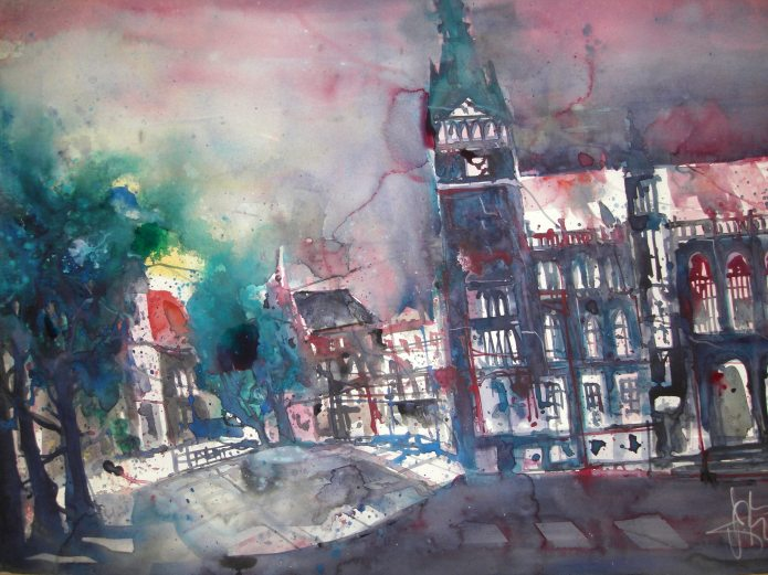 Rathaus Braunschweig - Aquarell von Andreas Mattern