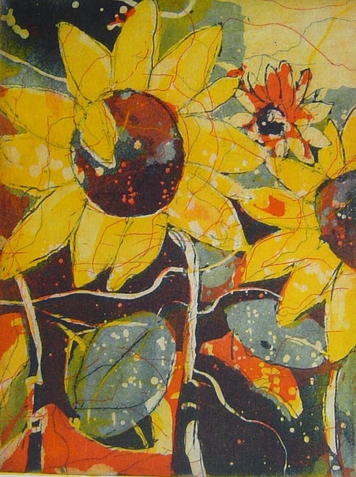 Sonnenblumen - Radierung Aquatinta von Andreas Mattern