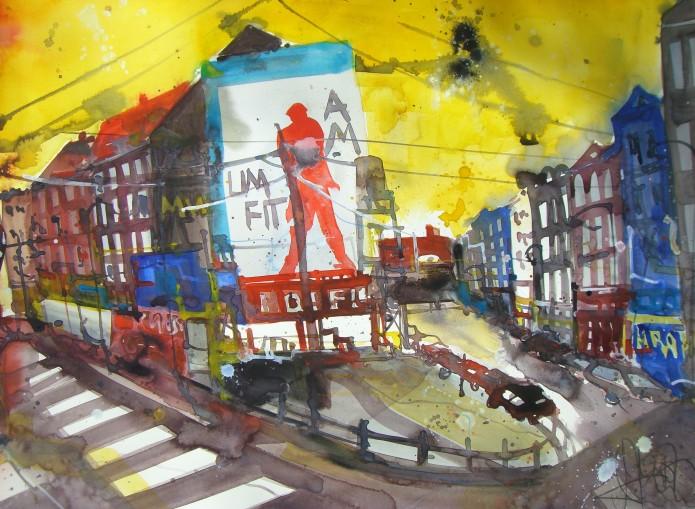 Berlin - Oranienburger Straße - Aquarell von Andreas Mattern