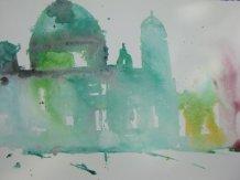 Entstehung Berliner Dom - Aquarell von Andreas Mattern