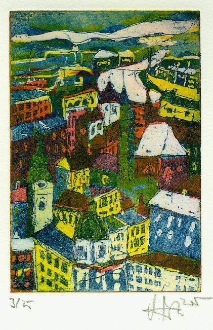 Salzburg Dächer - Radierung von Andres Mattern