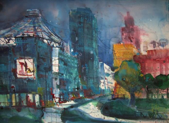Potsdamer Platz - Aquarell von Andreas Mattern