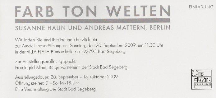 Einladung Farb Ton Welten Ausstellung Andreas Mattern Susanne Haun