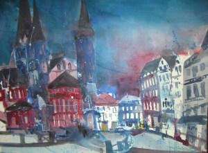Bonn - Aquarell von Andreas Mattern - 56 x 76 cm
