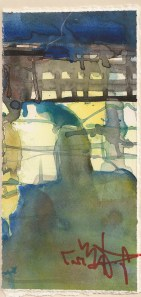 Dorf  - Aquarell von Andreas Mattern, 22 x 11 cm