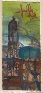 Kirchturm - Aquarell von Andreas Mattern - 22 x 11 cm - Aquarell auf Bütten