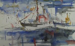 Boote - Zeichnung von Andreas Mattern - 38 x 56 cm - Tusche und Aquarell auf Bütten