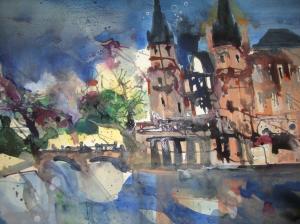 Schwerin - Aquarell von Andreas Mattern - 38 x 56 cm - Aquarell auf Bütten