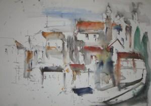 Toskana - Zeichnung von Andreas Mattern - 38 x 56 cm - Tusche und Aquarell auf Bütten