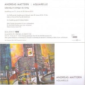 Einladung Galerie 100 Ausstellung Andreas Mattern