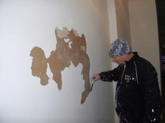 Der Putz fällt mit der frischen Farbe von der Wand - Sch.......