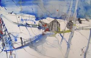Winterlandschaft - Aquarell von Andreas Mattern - 38 x 56 cm - Aquarell auf Bütten
