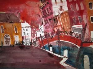 Venedig - Campo Dei Frari - Aquarell von Andreas Mattern - 56 x 76 cm - Aquarell auf Bütten
