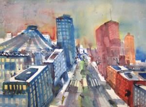 Potsdamer Platz - Aquarell von Andreas Mattern - 56 x 76 cm - Aquarell auf Bütten