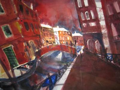 Venedig - Aquarell von Andreas Mattern - 56 x 76 cm - Aquarell auf Bütten