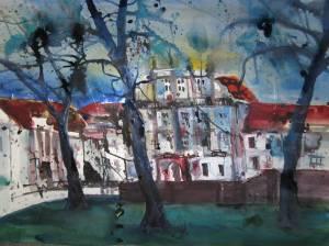 Schloss Oranienburg - Aquarelle von Andreas Mattern - 56 x 78 cm