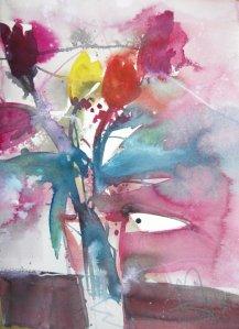 Blumen in weißer Vase - Aquarell von Andreas Mattern - 40  x 30 cm - Aquarell auf Bütten