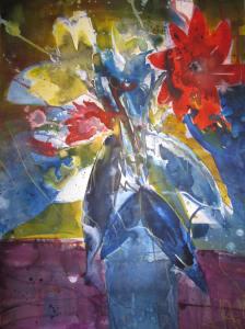 Blumenstrauß - Aquarell von Andreas Mattern - 56 x 38 cm - Tusche auf Bütten