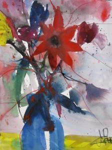 Blumen in blauer Vase - Aquarell von Andreas Mattern - 40 x 30 cm - Aquarell auf Bütten