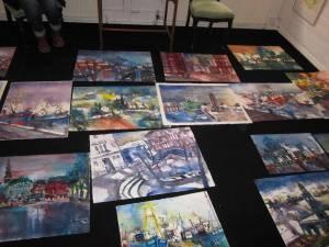 Meine Aquarelle auf dem Boden der Galerie am Michel