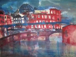 Reichstag vom Spreeufer - Aquarell von Andreas Mattern - Aquarell auf Bütten - 52 x 72 cm
