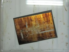 Die Zinkplatte kommt in die Salpetersäure, dort wo ich das Wachs abgekratzt habe, kann die Säure ätzen