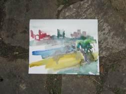 Schnelles Aquarell Volterra von Andreas Mattern