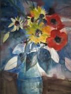 Blumen in blauer Vase - Aquarell von Andreas Mattern - 76 x 56 cm