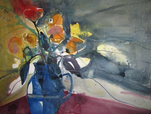 Blumen in blauem Krug - Aquarell von Andreas Mattern - 56 x 76 cm