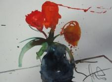 Rote Blumen - Aquarell auf Bütten - 20 x 30 cm - Andreas Mattern