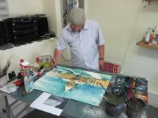 Nun male ich im Atelier weiter! Es ist wichtig, dass der Eindruck noch frisch ist!