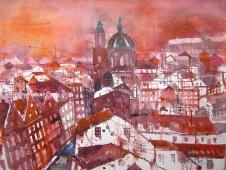 Die Dächer von Prag - Aquarell von Andreas Mattern - 56 x 78 cm
