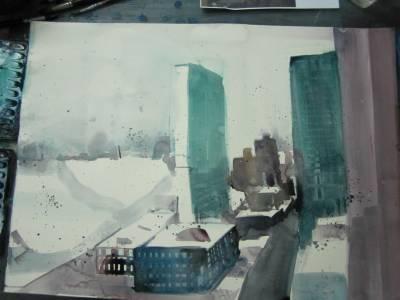 Entstehung Aquarell UN Gebäude N.Y. von Andreas Mattern