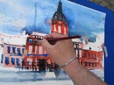 Ich male 2. Zustand Aquarell Schloss Charlottenburg von Andreas Mattern