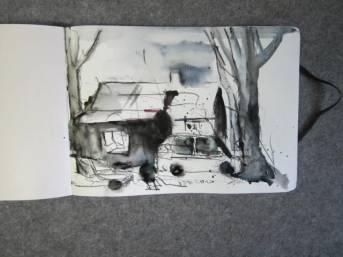 """Fertige Skizze """"Blick aus unserem Küchenfenster"""" von Andreas Mattern"""