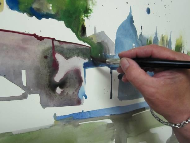 Entstehung Aquarell Salzburg von Andreas Mattern 1