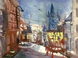 Prag, Altstädter Ring - Aquarell von Andreas Mattern