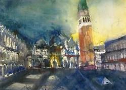 Venedig, Piazza San Marco - Aquarell von Andreas Mattern