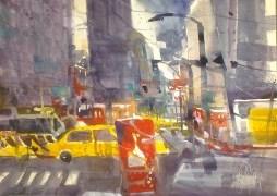 9th Avenue New York - Aquarell von Andreas Mattern